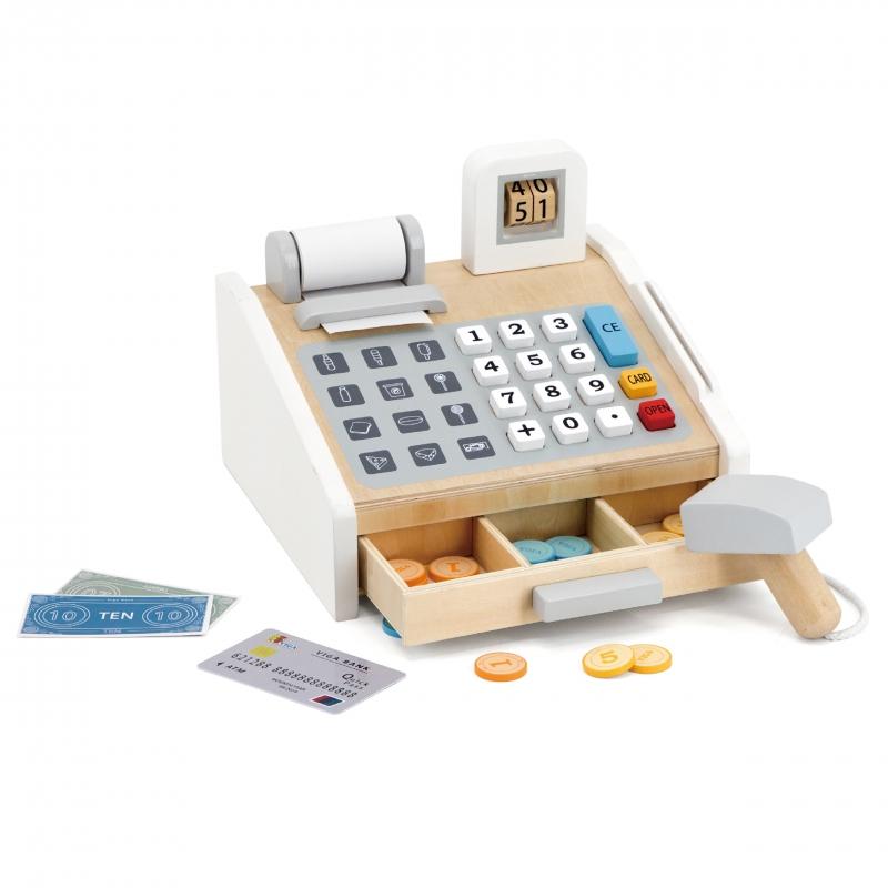 Детски касов апарат със сметало от Viga toys-bellamiestore