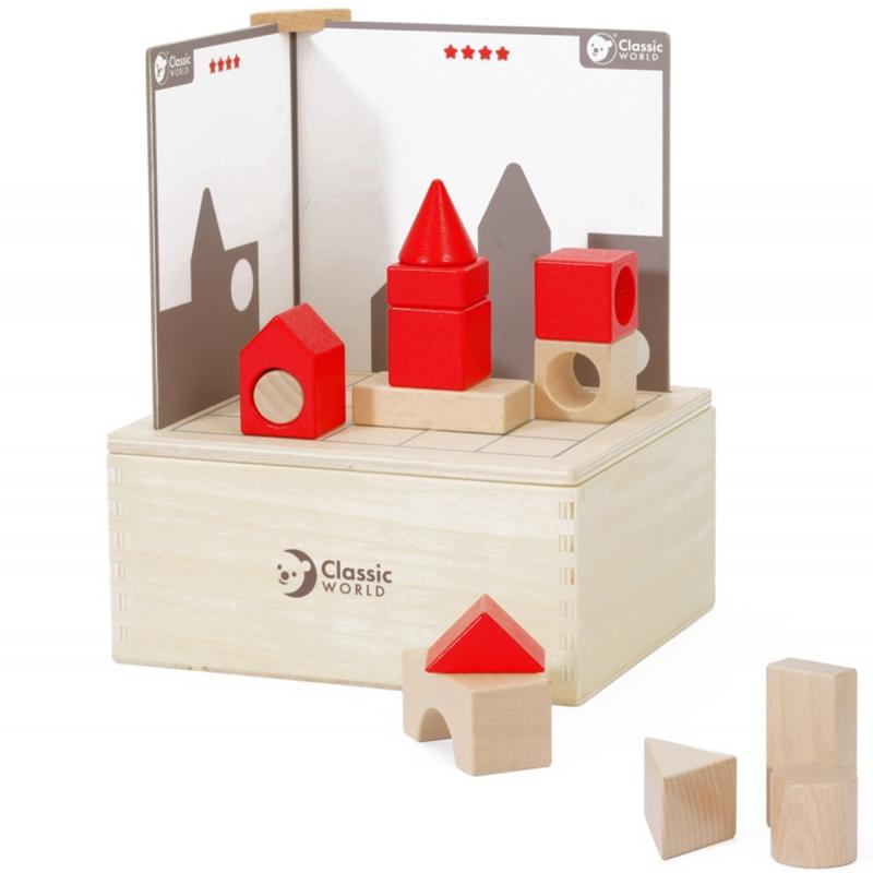 Образователна игра и пъзел с дървени фигури и примерни карти-bellamiestore